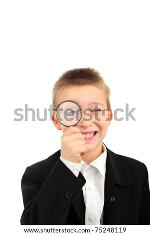 boy with loupe isolated on the white