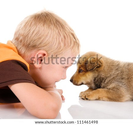 boy with puppy. isolated on white background - stock photo