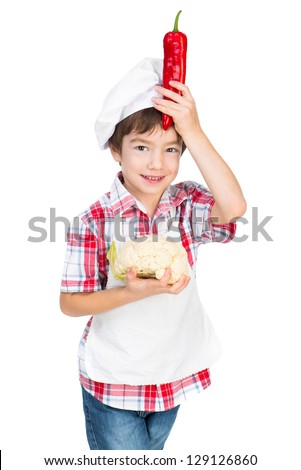 boy with red pepper and cauliflower isolated on a white background - stock photo