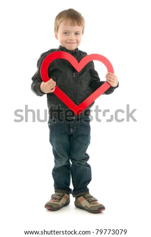 Boy with red symbolic heart, on white background. - stock photo