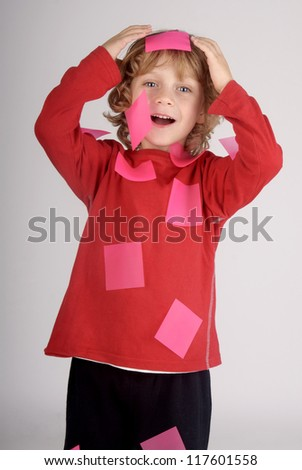 boy with reminder paper - stock photo