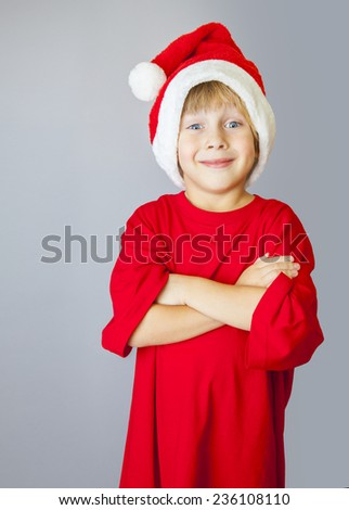boy with Santa Claus Hat - stock photo