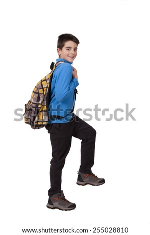 boy with school bag - stock photo