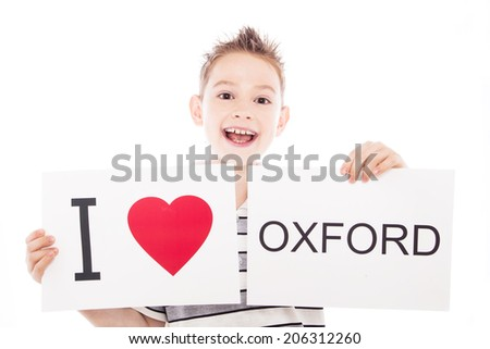 Boy with  sign I love Oxford. Series of boy with English city signs - stock photo
