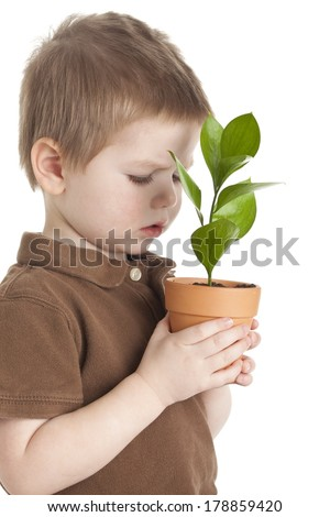 Boy with Small Plant