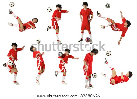 Boy with soccer ball, Footballer on the white background. (isolated) (same model) - stock photo