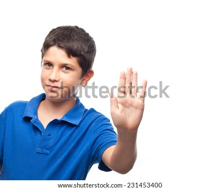 boy with stop gesture - stock photo