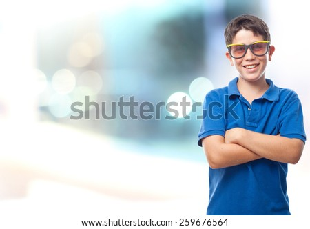 boy with sunglasses with abstract background - stock photo