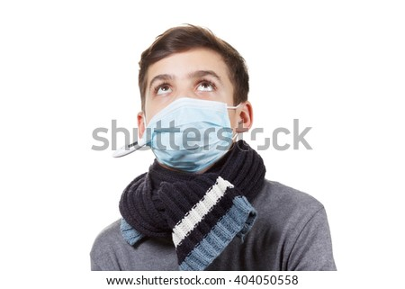 Boy with  thermometer medical exam pharynx and tonsils - stock photo