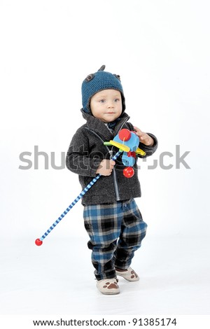 boy with toy - stock photo