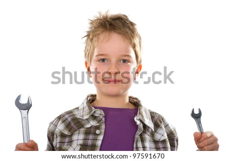 boy with two screw wrenches - stock photo