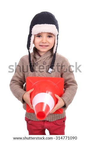 boy with winter cap - stock photo