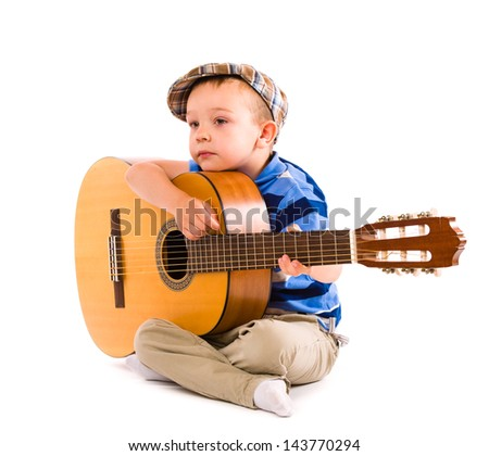 Boy wondering what's to next song, white background