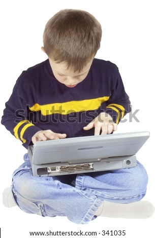 boy working on laptop