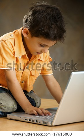 Boy works with the computer