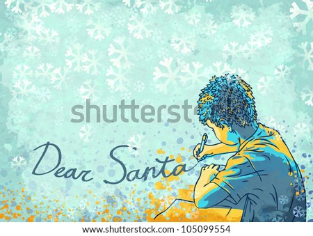 boy writing letter to santa - stock photo