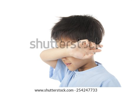 Boy yawn after woke up in the morning isolated on white background