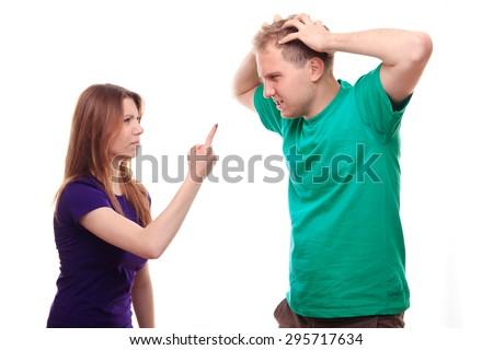 Boyfriend and girlfriend arguing - studio shoot  - stock photo