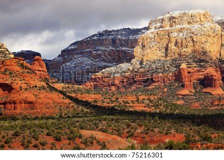 Boynton Red White Rock Canyon Snow Clouds Green Trees Sedona Arizona - stock photo