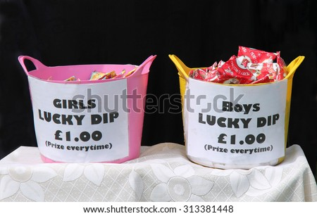 Boys and Girls Christmas Lucky Dip Prizes. - stock photo