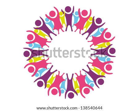 Boys and girls united in a circle and cheering with arms up in the air in abstract format.