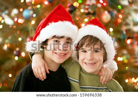 Boys at Christmas - stock photo