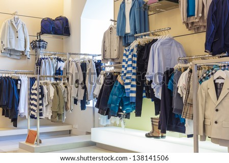Boys department in clothing store