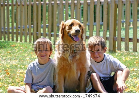 Boys & Dog in Sun
