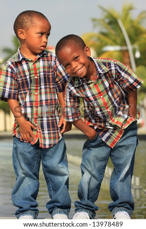 Boys Dressed Alike - stock photo