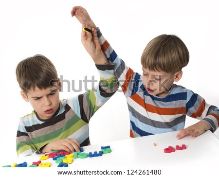 boys fighting, Fight after learning - stock photo