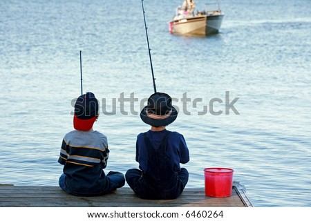 Boys Fishing - stock photo