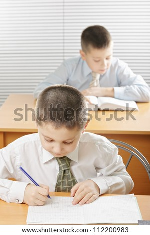 Boys having classes one writing while other reading