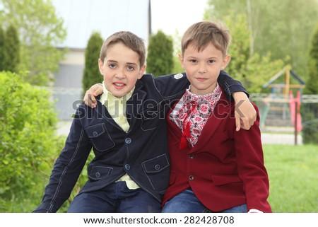 Boys in school uniform. school friends - stock photo