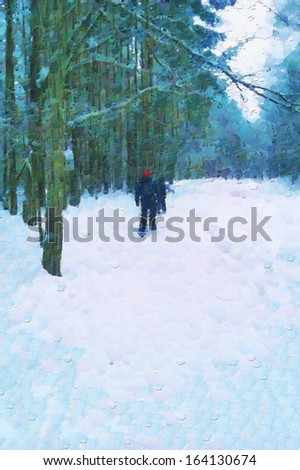 Boys in winter forest