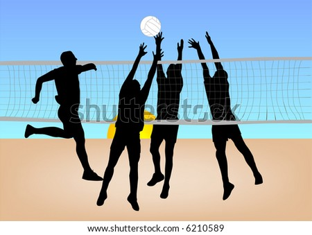 boys play volleyball on sand illustration