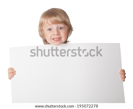 boys showing blank placard board to write it on your own text isolated on white background - stock photo