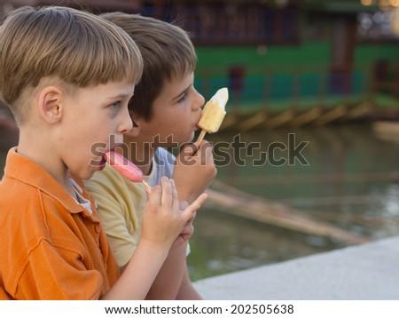 boys with ice cream - stock photo