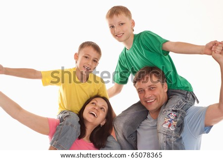 boys with parents on a white background
