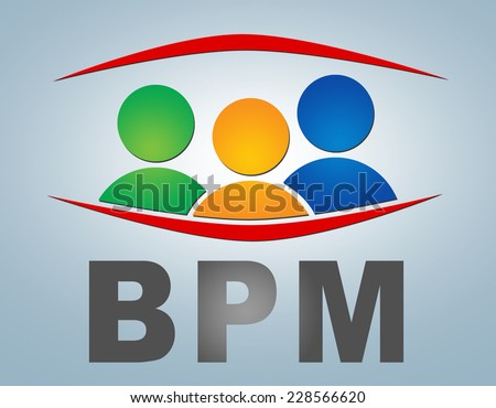 BPM - Business Process Management illustration concept on grey background with group of people icons - stock photo