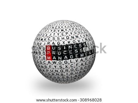 BPM Business Process Management written on cubes on 3d sphere - stock photo
