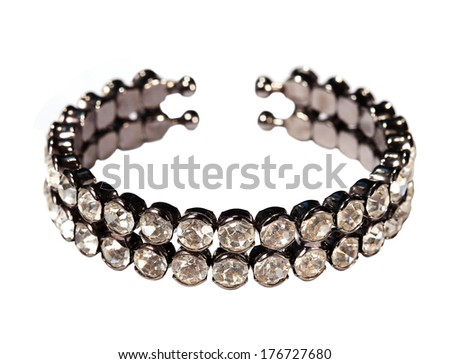 Bracelet bijouterie on the white background, isolated. - stock photo