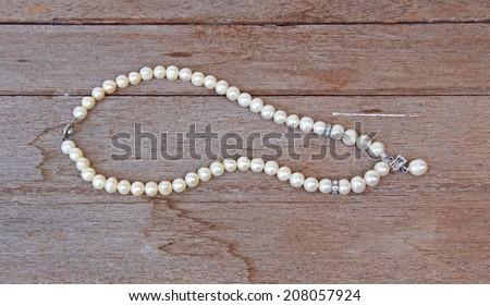 Bracelet Necklace pearl - stock photo
