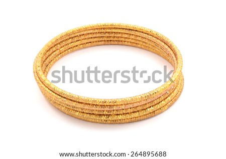 bracelet of gold rings on a white background