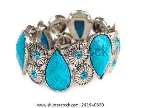 Bracelet with blue stones isolated over white background. Clipping path included. - stock photo