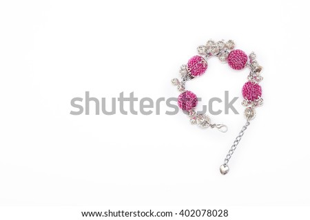 Bracelet with pink beaded beads - stock photo