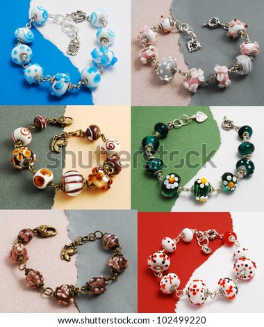 Bracelets made of murano glass - stock photo