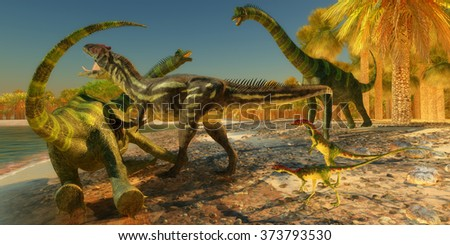 Brachiosaurus Dinosaur Attack - Two Compsognathus wait as an Allosaurus dinosaur brings down a huge Brachiosaurus on the beach. - stock photo
