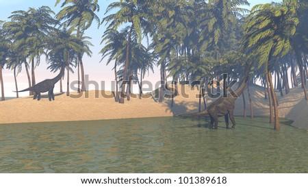 brachiosaurus grazing on shore - stock photo