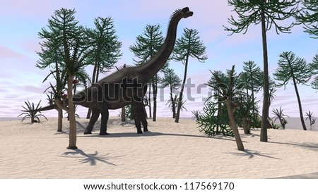 brachiosaurus on sand terrain - stock photo
