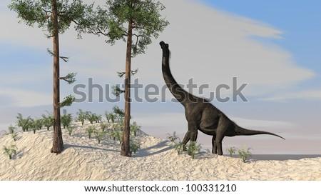 brachiosaurus on shore - stock photo